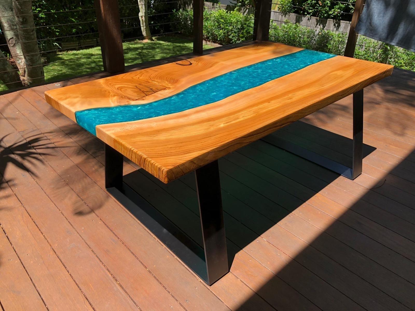 timber coffee table resin art