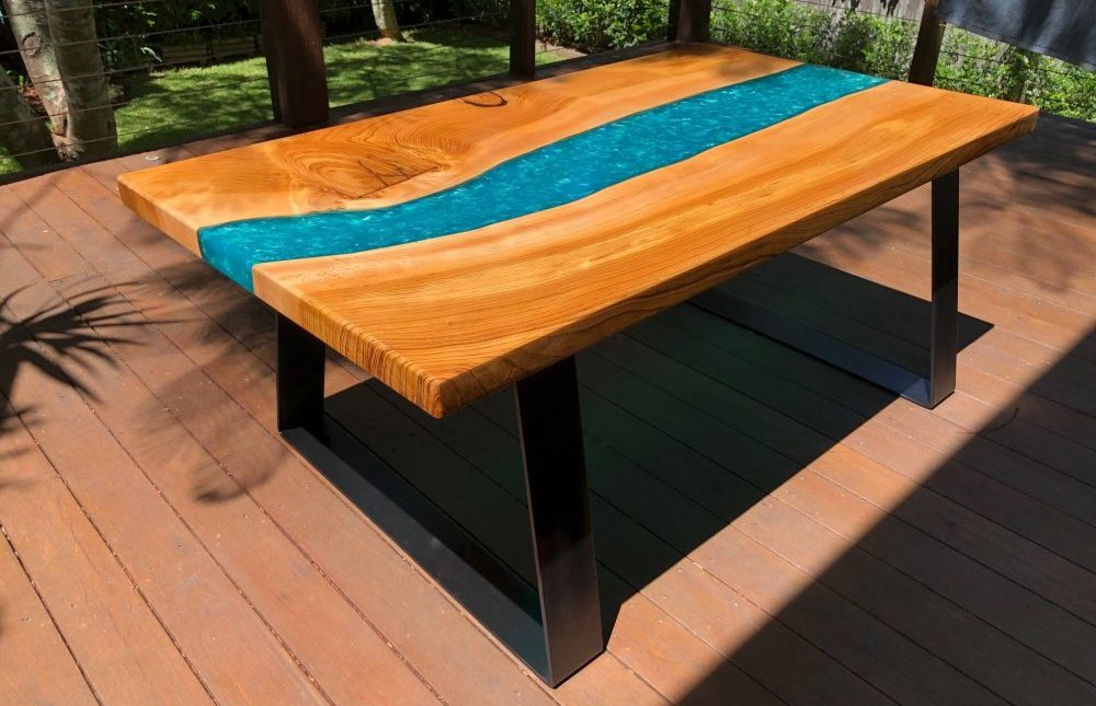 Custom resin coffee table