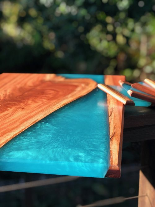 Resin river timber serving board gift 1
